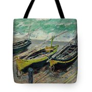 Three Fishing Boats Tote Bag
