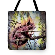 11452 Red Squirrel Sketch Square Tote Bag