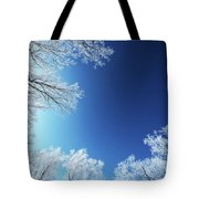Amazing Landscape With Frozen Snow Covered Trees At Sunrise   Tote Bag