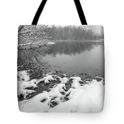 Snow Covered Landscapes In Belmont North Carolina Along Catawba  Tote Bag