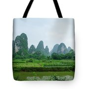 The Beautiful Karst Rural Scenery In Spring Tote Bag