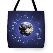 12 Zodiac Constellations Tote Bag