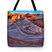 Fire Wave Panorama Tote Bag