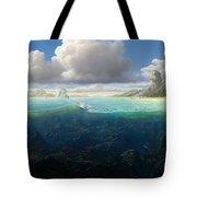 128098 Artwork Sea Fish Clouds Rock Formation Split View Tote Bag