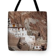 Ruins At Basgo Monastery Tote Bag