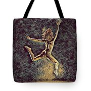 1307s-dancer Leap Fit Black Woman Bare And Free Tote Bag