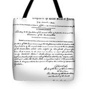 13th Amendment, 1865 Tote Bag