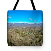 Aerial View On Mountains And Landscape Covered In Snow Tote Bag