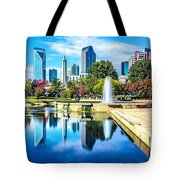 Charlotte North Carolina Cityscape During Autumn Season Tote Bag