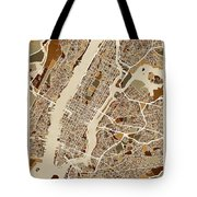 New York City Street Map Tote Bag
