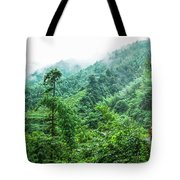 Mountain Scenery In Mist Tote Bag