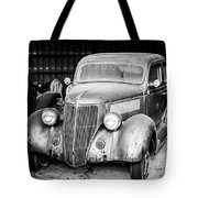 Vintage Autos In Black And White Tote Bag