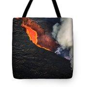 Volcano Eruption At The Holuhraun Tote Bag