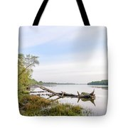 View Of The Dniper River At Morning Tote Bag