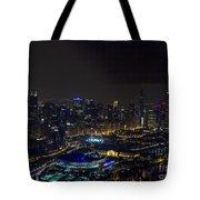 Chicago Night Skyline Aerial Photo Tote Bag