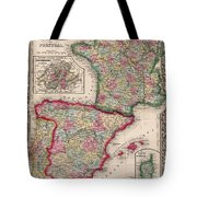 1800s France, Spain And Portugal County Map Color Tote Bag