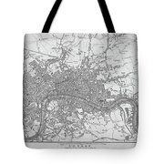 1800s London Map Black And White London England Tote Bag