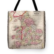 1800s Wales County Map Wales England Color Tote Bag