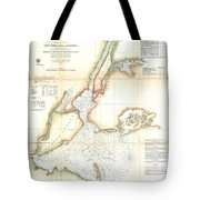 1857 Coast Survey Map Of New York City And Harbor Tote Bag
