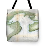 1857  Coast Survey Map Of St. Louis Bay And Shieldsboro Harbor, Mississippi  Tote Bag