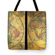 1858 Set Of Two Pelton Wall Maps, Western Hemisphere And Eastern Hemisphere  Tote Bag