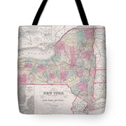 1858 Smith - Disturnell Pocket Map Of New York Tote Bag