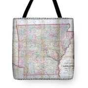1859 Colton Pocket Map Of Arkansas  Tote Bag