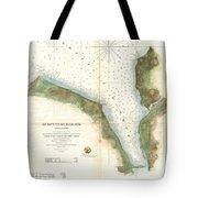 1859 U.s. Coast Survey Chart Or Map Of Hempstead Harbor, Long Island, New York  Tote Bag