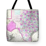 1862 Map Of Texas Tote Bag