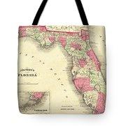 1864 Florida Map Color Tote Bag