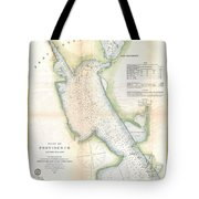1865 Us Coast Survey Map Or Chart Of Providence Rhode Island Tote Bag