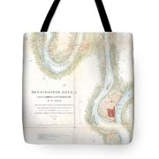 1865 Uscs Map Of The Mississippi River From Cairo Illinois To St Marys Missouri  Tote Bag