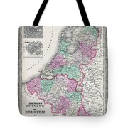1866 Johnson Map Of Holland And Belgium Tote Bag
