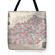 1866 Johnson Map Of Kentucky And Tennessee  Tote Bag