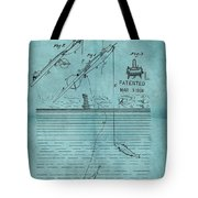 1868 Fishing Tackle Patent Blue Tote Bag