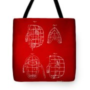 1878 Baseball Catchers Mask Patent - Red Tote Bag