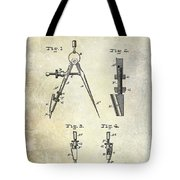 1888 Draftsmans Compass Patent  Tote Bag
