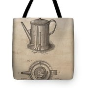 1889 Coffee Pot Patent Illustration Tote Bag