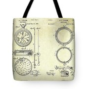 1889 Stop Watch Patent Art Sheets 1-2 Tote Bag