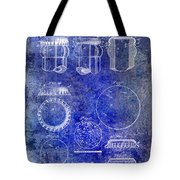 1892 Bottle Cap Patent Blue Tote Bag