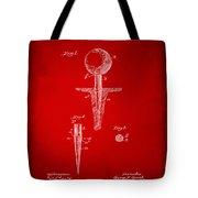 1899 Golf Tee Patent Artwork Red Tote Bag