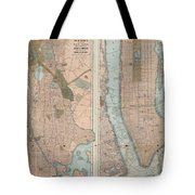 1899 Home Life Map Of New York City  Manhattan And The Bronx  Tote Bag