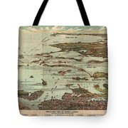 1899 View Map Of Boston Harbor From Boston To Cape Cod And Provincetown  Tote Bag