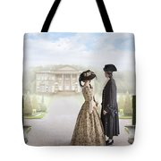 18th Century Georgian  Couple Looking Towards A Country Estate Tote Bag