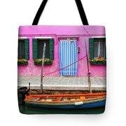 Burano Anisland Of Multi Colored Homes On Canals North Of Venice Italy Tote Bag