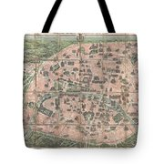 1900 Garnier Pocket Map Or Plan Of Paris France  Eiffel Tower And Other Monuments  Tote Bag