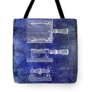 1900 Knife Switch Patent Blue Tote Bag