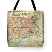 1900 National Publishing Railroad Map Of Connecticut Massachusetts And Rhode Island  Tote Bag