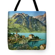 1900s Switzerland Swiss Alps Spiez Mit Ralligstoecke Tote Bag