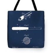 1902 Baseball Bat Patent In Blue Tote Bag